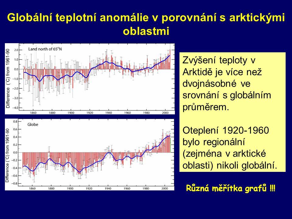 Zvýšení teploty v Arktidě je více než dvojnásobné ve srovnání s globálním průměrem. Oteplení 1920-1960 bylo regionální (zejména v arktické oblasti) ni