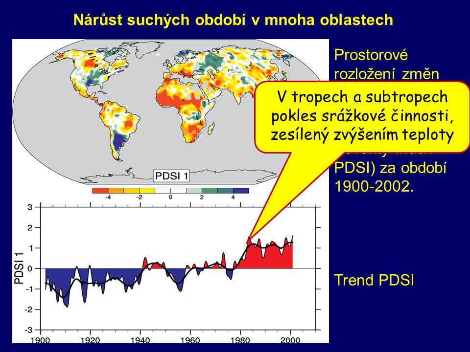 Prostorové rozložení změn měsíčního Palmerova indexu (Palmer Drought Severity Index - PDSI) za období 1900-2002. Trend PDSI Nárůst suchých období v mn