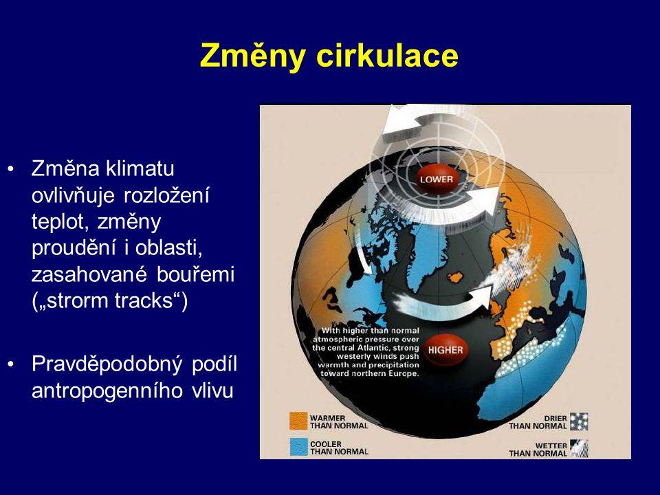 """Změny cirkulace • Změna klimatu ovlivňuje rozložení teplot, změny proudění i oblasti, zasahované bouřemi (""""strorm tracks"""") • Pravděpodobný podíl antro"""