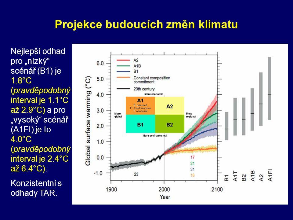 """Nejlepší odhad pro """"nízký"""" scénář (B1) je 1.8°C (pravděpodobný interval je 1.1°C až 2.9°C) a pro """"vysoký"""" scénář (A1FI) je to 4.0°C (pravděpodobný int"""