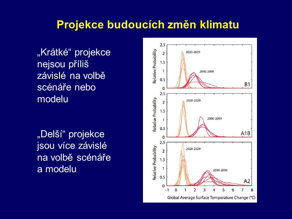 """Projekce budoucích změn klimatu """"Krátké"""" projekce nejsou příliš závislé na volbě scénáře nebo modelu """"Delší"""" projekce jsou více závislé na volbě scéná"""