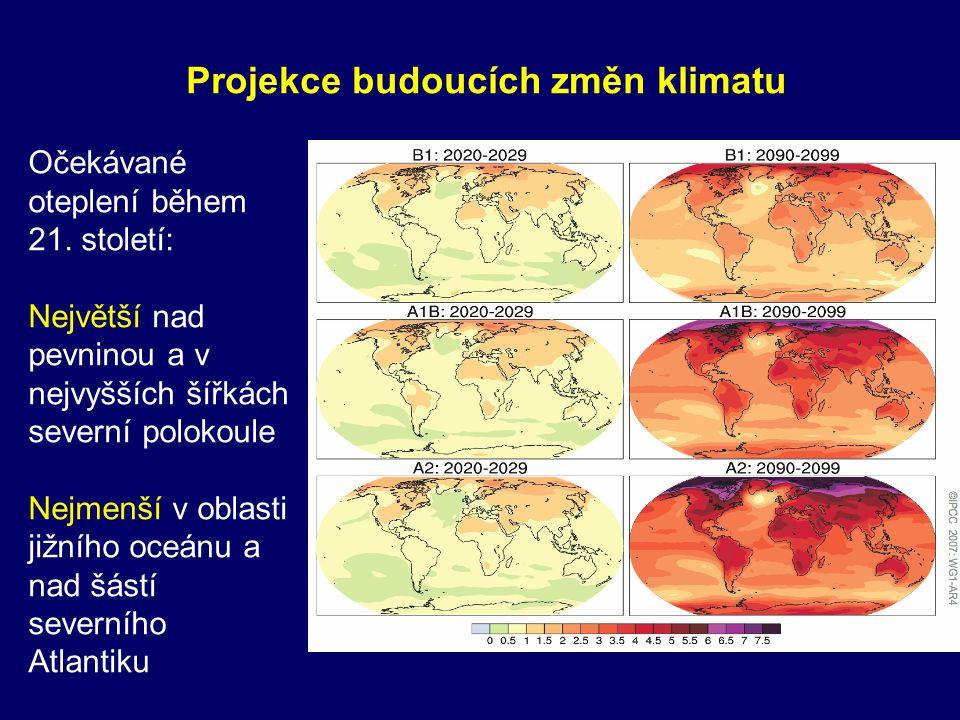 Očekávané oteplení během 21. století: Největší nad pevninou a v nejvyšších šířkách severní polokoule Nejmenší v oblasti jižního oceánu a nad šástí sev