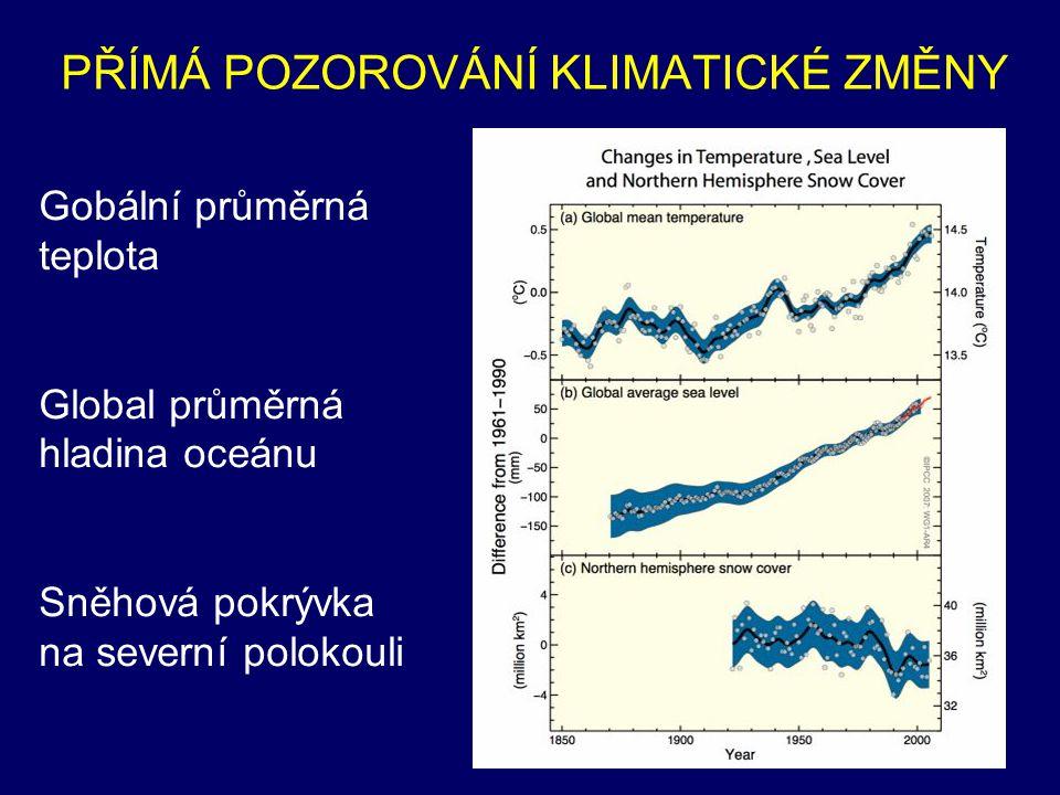 PŘÍMÁ POZOROVÁNÍ KLIMATICKÉ ZMĚNY Globální průměrná teplota vzduchu: • Aktualizovaný 100-letý lineární trend 1906-2005: 0.74 [0.56 to 0.92] o C/100 let • Je větší než trend za období 1901-2000 podle TAR, který byl 0.6 [0.4 to 0.8] o C/100 let • Průměrná teplota oceánu stoupla do hloubek nejméně 3000 m, oceán absorboval kolem 80% dodatečného tepla, dodaného do klimatického systému ===> růst hladiny oceánu