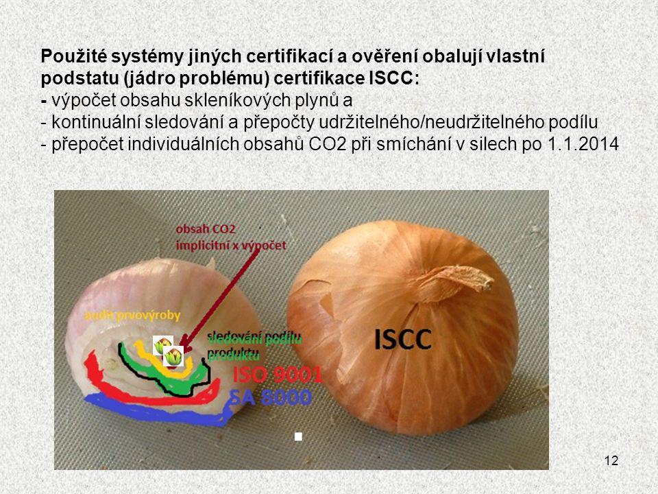  Použité systémy jiných certifikací a ověření obalují vlastní podstatu (jádro problému) certifikace ISCC: - výpočet obsahu skleníkových plynů a - kon