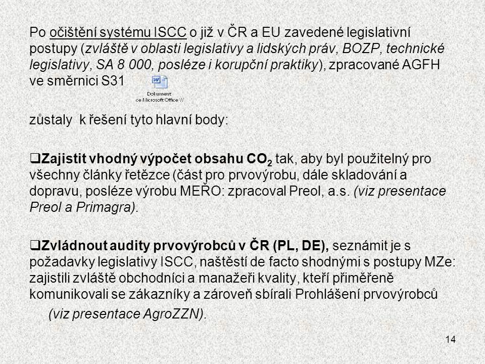 Po očištění systému ISCC o již v ČR a EU zavedené legislativní postupy (zvláště v oblasti legislativy a lidských práv, BOZP, technické legislativy, SA