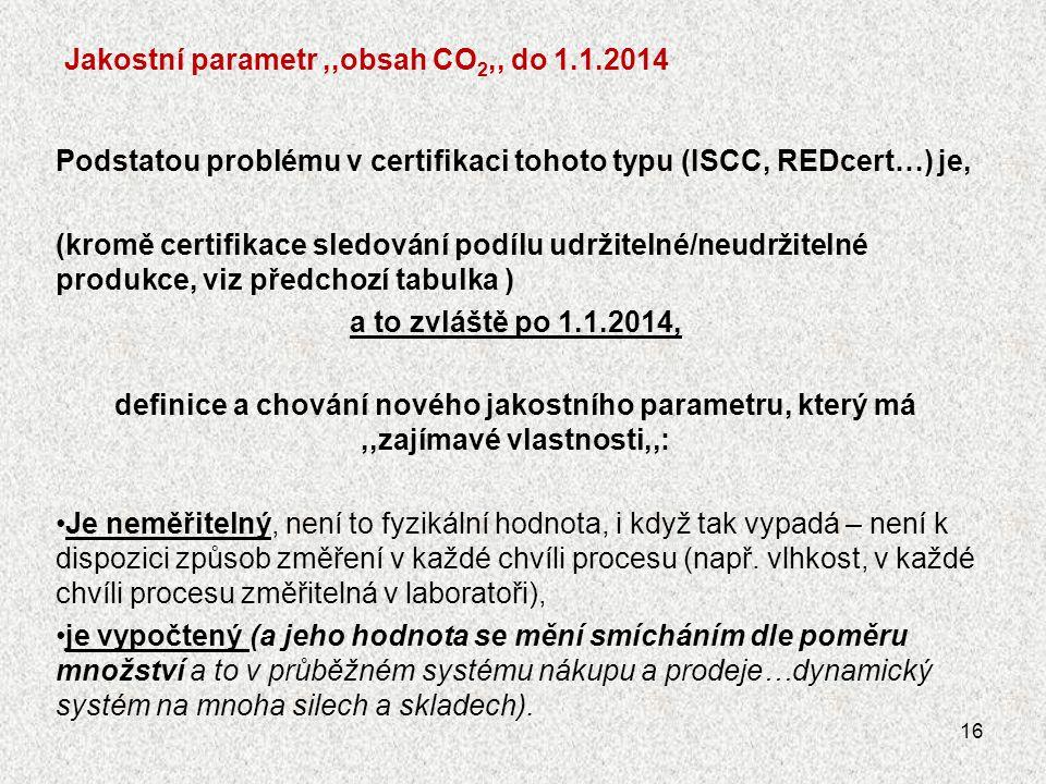 Jakostní parametr,,obsah CO 2,, do 1.1.2014 Podstatou problému v certifikaci tohoto typu (ISCC, REDcert…) je, (kromě certifikace sledování podílu udrž
