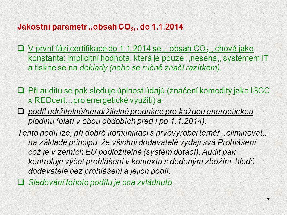 Jakostní parametr,,obsah CO 2,, do 1.1.2014  V první fázi certifikace do 1.1.2014 se,, obsah CO 2,, chová jako konstanta: implicitní hodnota, která j