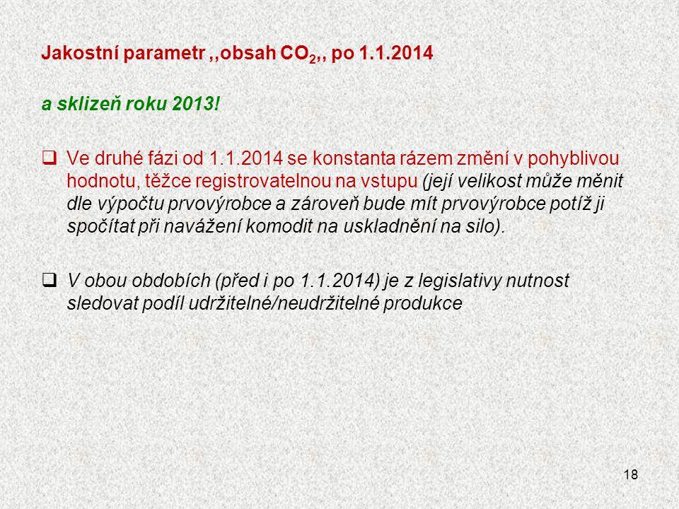 Jakostní parametr,,obsah CO 2,, po 1.1.2014 a sklizeň roku 2013!  Ve druhé fázi od 1.1.2014 se konstanta rázem změní v pohyblivou hodnotu, těžce regi