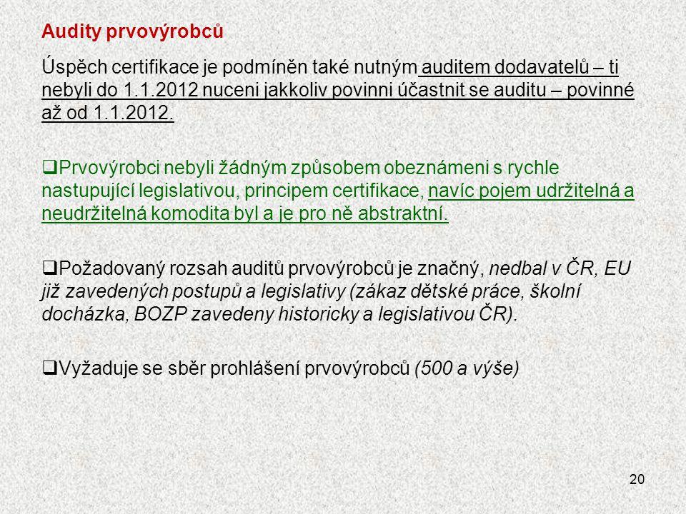 Dopady certifikace ISCC na certifikované subjekty Certifikované společnosti – výrobci (,,míchači,,).