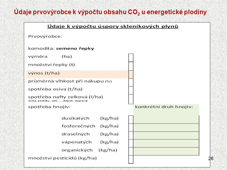 Údaje prvovýrobce k výpočtu obsahu CO 2 u energetické plodiny 26