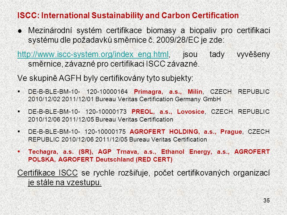 ISCC: International Sustainability and Carbon Certification ● Mezinárodní systém certifikace biomasy a biopaliv pro certifikaci systému dle požadavků