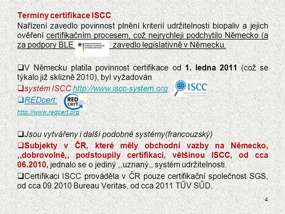 Termíny certifikace ISCC Nařízení zavedlo povinnost plnění kriterií udržitelnosti biopaliv a jejich ověření certifikačním procesem, což nejrychleji po