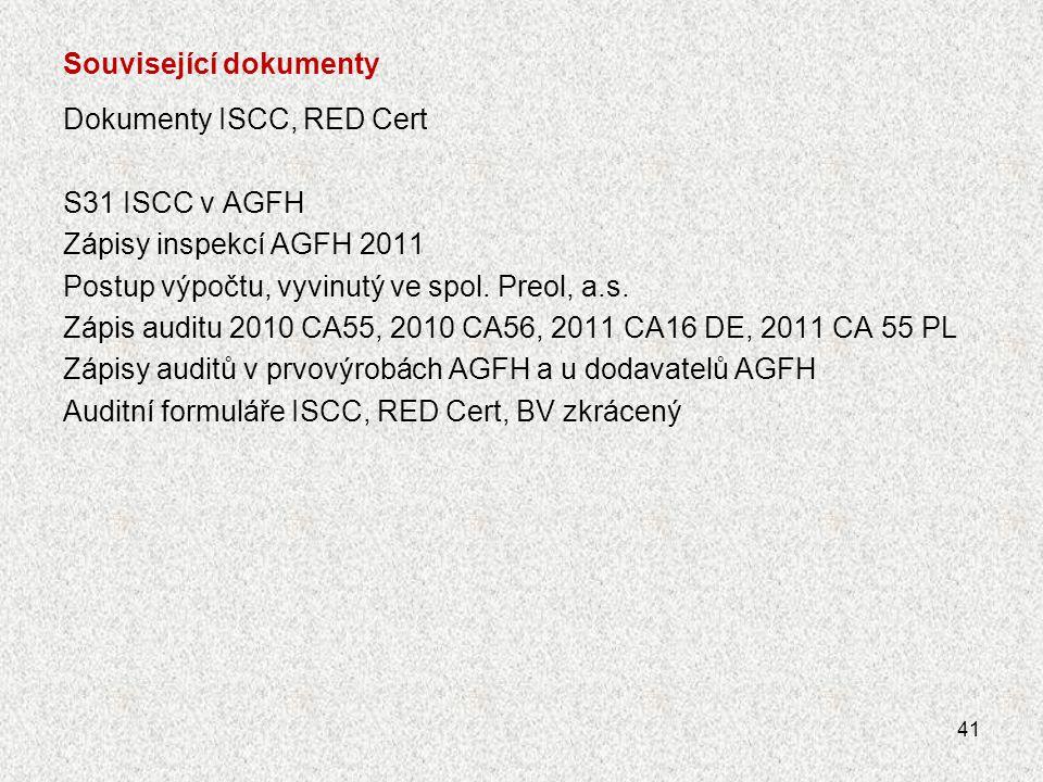 Související dokumenty Dokumenty ISCC, RED Cert S31 ISCC v AGFH Zápisy inspekcí AGFH 2011 Postup výpočtu, vyvinutý ve spol. Preol, a.s. Zápis auditu 20