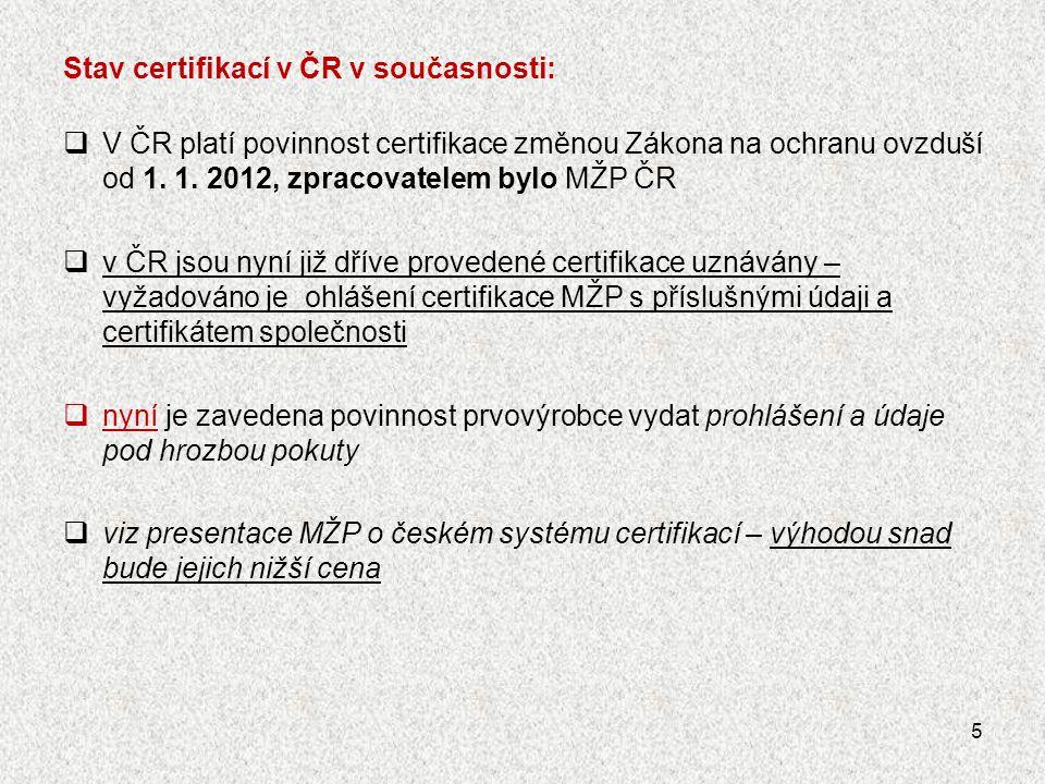 Stav certifikací v ČR v současnosti:  V ČR platí povinnost certifikace změnou Zákona na ochranu ovzduší od 1. 1. 2012, zpracovatelem bylo MŽP ČR  v