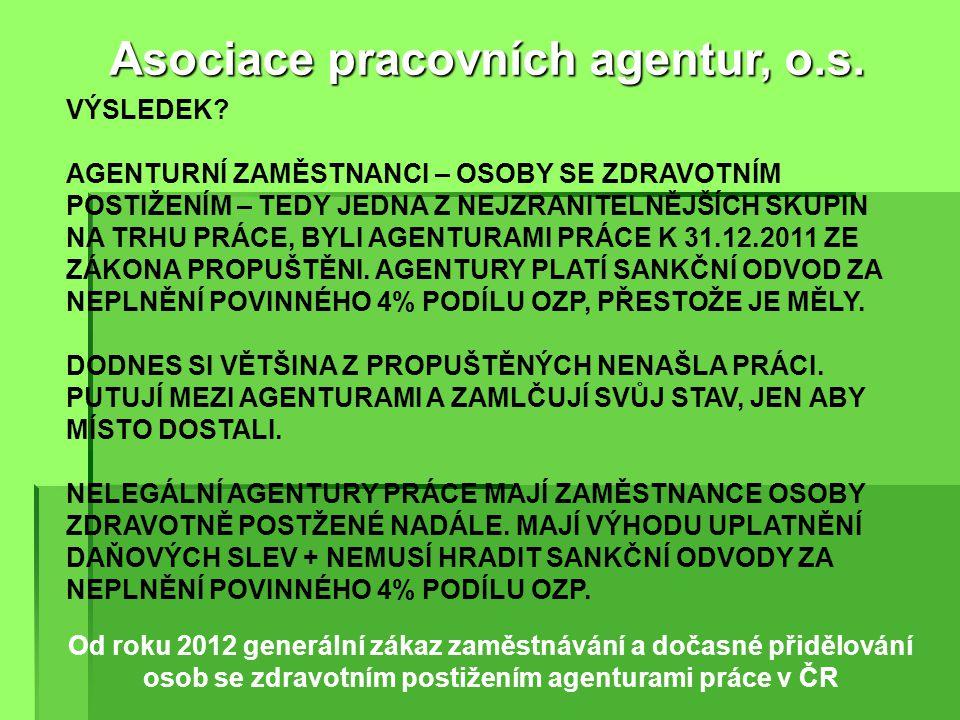 Od roku 2004 diskriminace agenturních zaměstnanců zákazem uzavřít Dohodu o provedení práce při dočasném přidělení Asociace pracovních agentur, o.s. VÝ