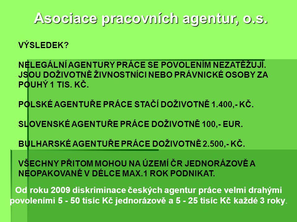 Od roku 2004 diskriminace českých agentur práce časově omezenými povoleními od MPSV v délce max. 3 roky Asociace pracovních agentur, o.s. VÝSLEDEK? NE