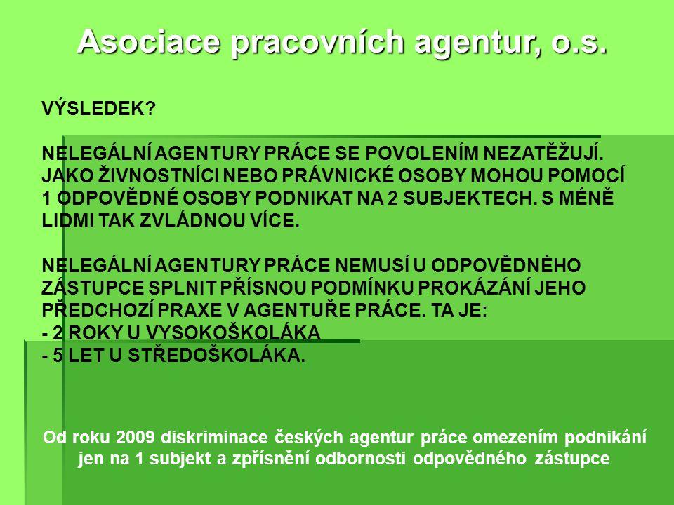 Od roku 2009 diskriminace českých agentur práce velmi drahými povoleními 5 - 50 tisíc Kč jednorázově a 5 - 25 tisíc Kč každé 3 roky. Asociace pracovní