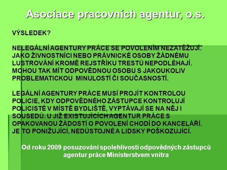 Od roku 2009 posuzování spolehlivosti odpovědných zástupců agentur práce Ministerstvem vnitra Asociace pracovních agentur, o.s.