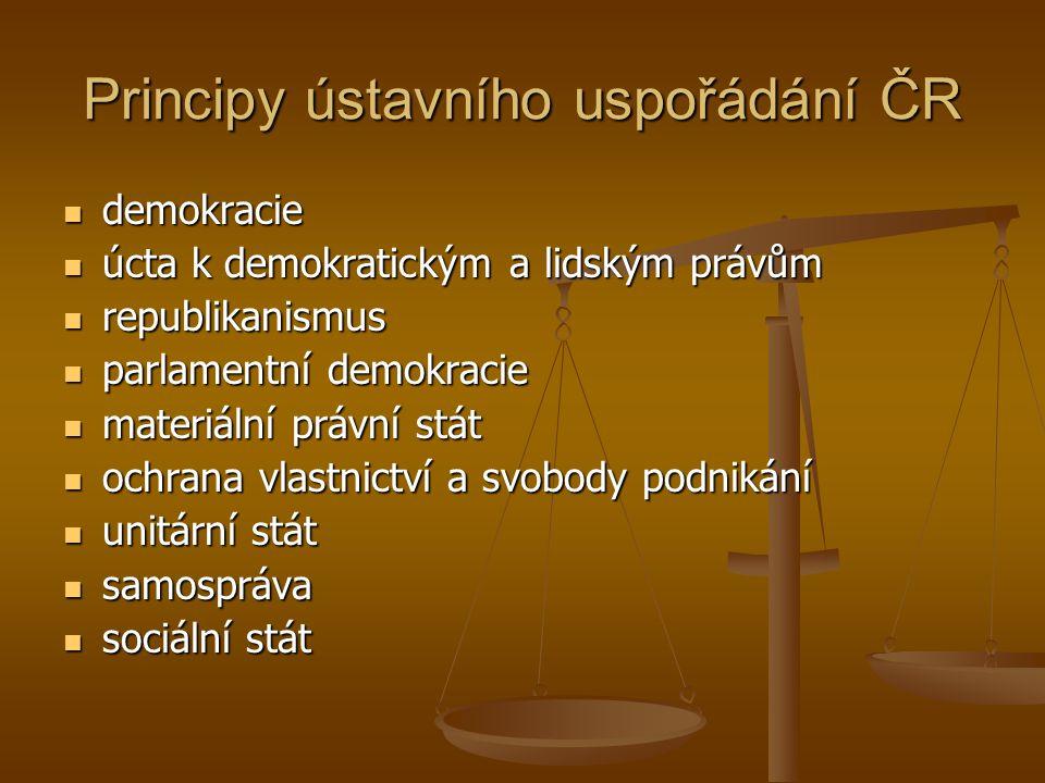 Principy ústavního uspořádání ČR  demokracie  úcta k demokratickým a lidským právům  republikanismus  parlamentní demokracie  materiální právní s