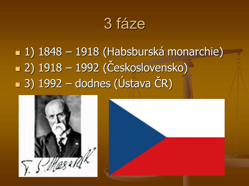 3 fáze  1) 1848 – 1918 (Habsburská monarchie)  2) 1918 – 1992 (Československo)  3) 1992 – dodnes (Ústava ČR)