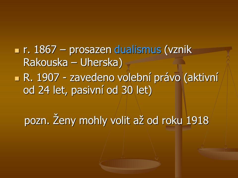  r. 1867 – prosazen dualismus (vznik Rakouska – Uherska)  R. 1907 - zavedeno volební právo (aktivní od 24 let, pasivní od 30 let) pozn. Ženy mohly v