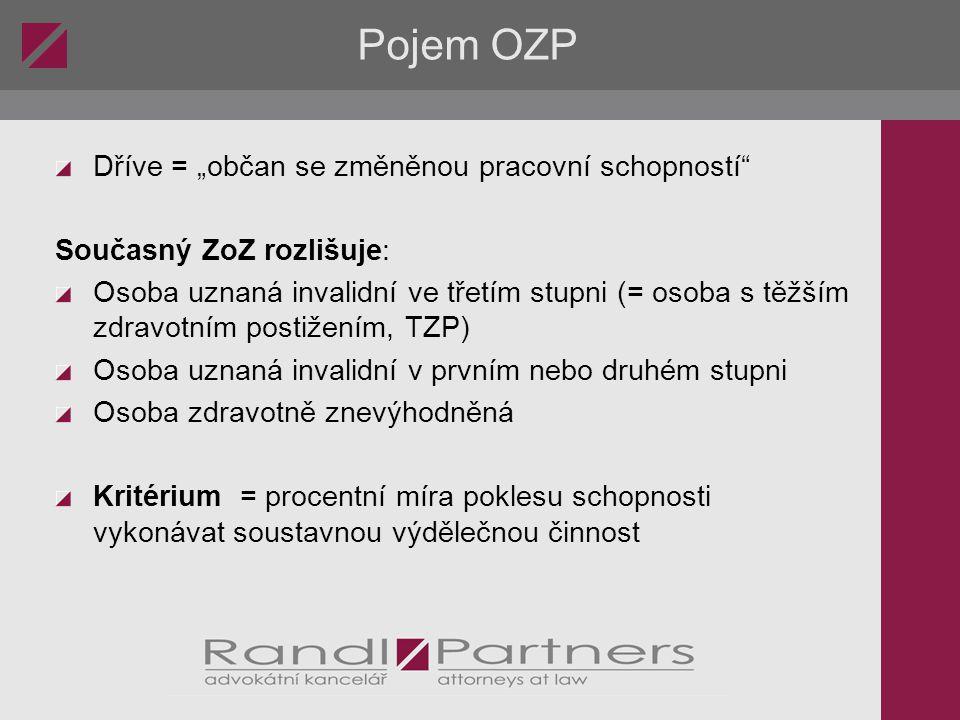 Formuláře a užitečné odkazy Portál MPSV: http://portal.mpsv.cz/sz/zamest/zamestnaniosob http://portal.mpsv.cz/sz/zamest/kestazeni - formuláře NFOZP: http://www.nfozp.cz/ Asociace zaměstnavatelů zdravotně postižených http://www.azzpcr.cz/ Burza práce Konta Bariéry http://burzaprace.bariery.cz/home.aspx Portál LMC: http://ozp.prace.cz/