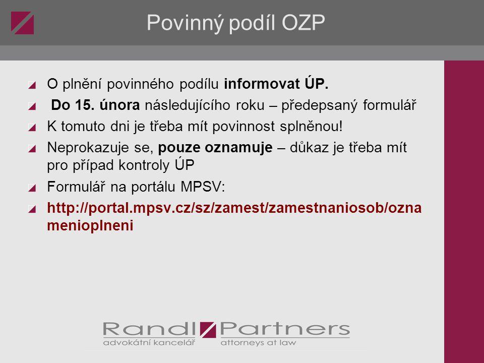 Povinný podíl OZP O plnění povinného podílu informovat ÚP.