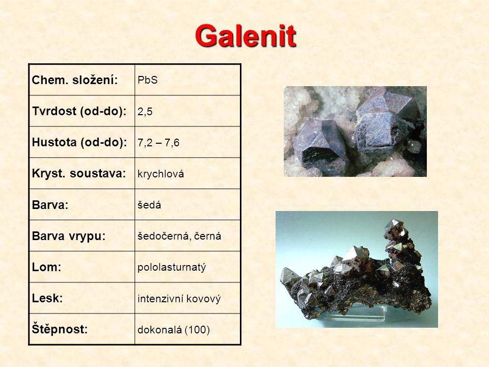 Galenit Chem. složení: PbS Tvrdost (od-do): 2,5 Hustota (od-do): 7,2 – 7,6 Kryst. soustava: krychlová Barva: šedá Barva vrypu: šedočerná, černá Lom: p
