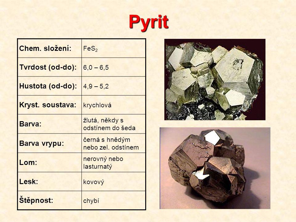 Pyrit Chem. složení: FeS 2 Tvrdost (od-do): 6,0 – 6,5 Hustota (od-do): 4,9 – 5,2 Kryst. soustava: krychlová Barva: žlutá, někdy s odstínem do šeda Bar