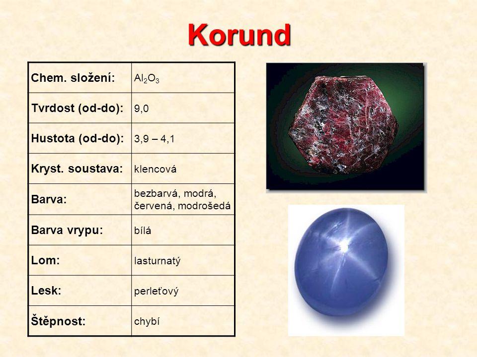 Korund Chem. složení: Al 2 O 3 Tvrdost (od-do): 9,0 Hustota (od-do): 3,9 – 4,1 Kryst. soustava: klencová Barva: bezbarvá, modrá, červená, modrošedá Ba