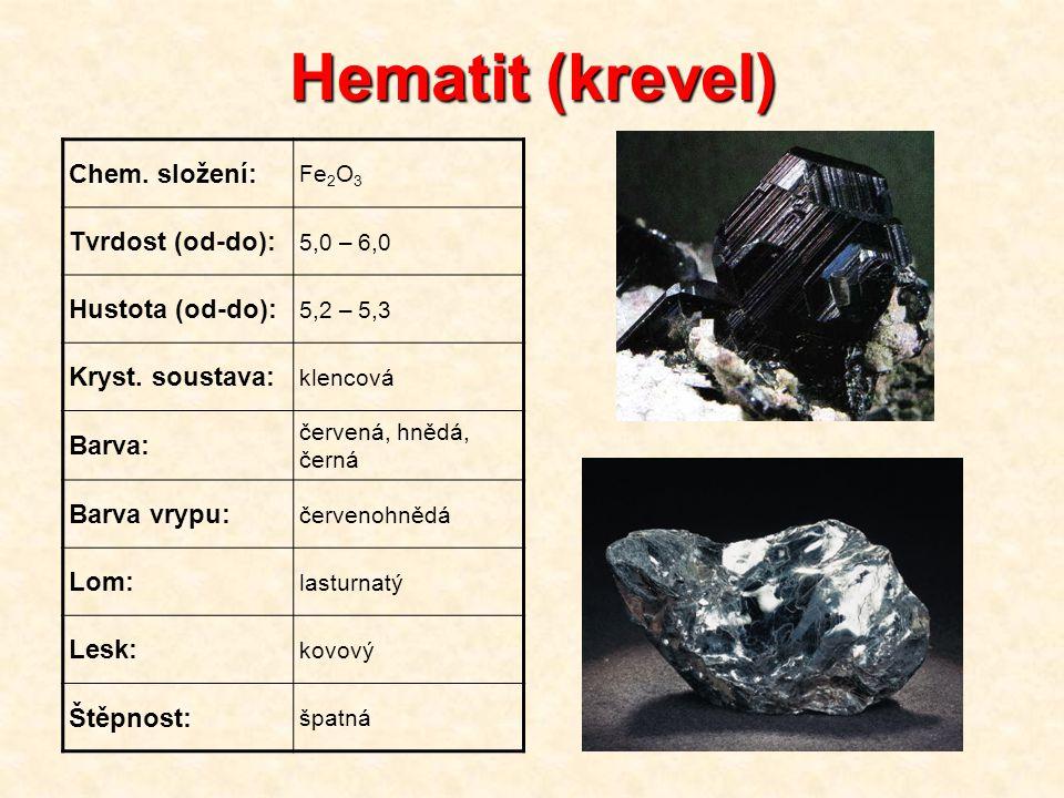Hematit (krevel) Chem. složení: Fe 2 O 3 Tvrdost (od-do): 5,0 – 6,0 Hustota (od-do): 5,2 – 5,3 Kryst. soustava: klencová Barva: červená, hnědá, černá