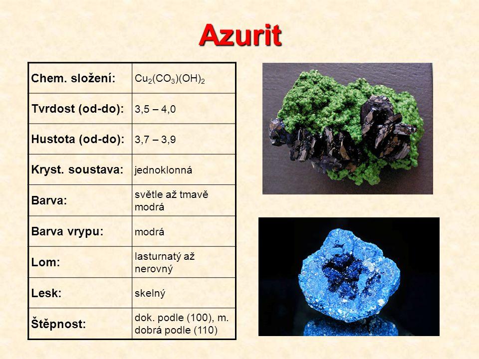Azurit Chem. složení: Cu 2 (CO 3 )(OH) 2 Tvrdost (od-do): 3,5 – 4,0 Hustota (od-do): 3,7 – 3,9 Kryst. soustava: jednoklonná Barva: světle až tmavě mod