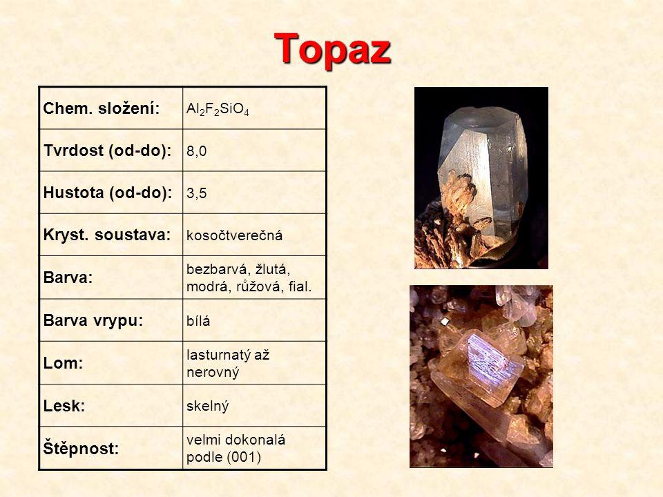 Topaz Chem. složení: Al 2 F 2 SiO 4 Tvrdost (od-do): 8,0 Hustota (od-do): 3,5 Kryst. soustava: kosočtverečná Barva: bezbarvá, žlutá, modrá, růžová, fi