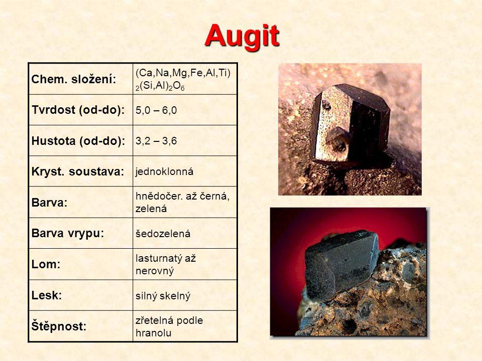 Augit Chem. složení: (Ca,Na,Mg,Fe,Al,Ti) 2 (Si,Al) 2 O 6 Tvrdost (od-do): 5,0 – 6,0 Hustota (od-do): 3,2 – 3,6 Kryst. soustava: jednoklonná Barva: hně