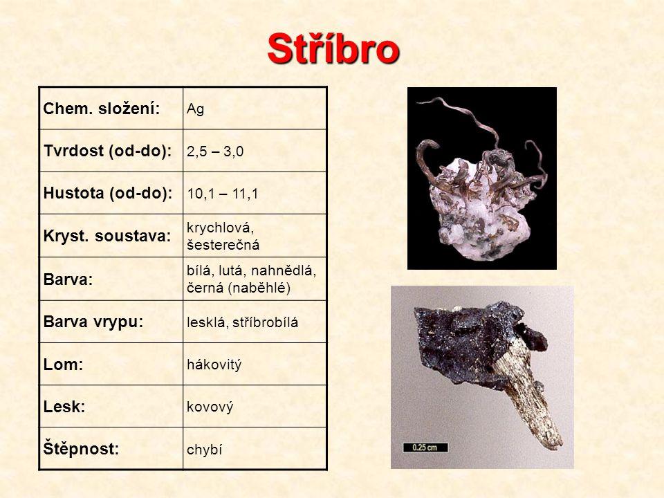 Stříbro Chem. složení: Ag Tvrdost (od-do): 2,5 – 3,0 Hustota (od-do): 10,1 – 11,1 Kryst. soustava: krychlová, šesterečná Barva: bílá, lutá, nahnědlá,