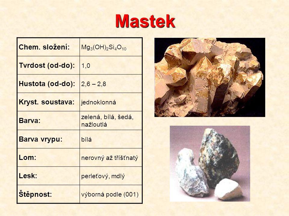 Mastek Chem. složení: Mg 3 (OH) 2 Si 4 O 10 Tvrdost (od-do): 1,0 Hustota (od-do): 2,6 – 2,8 Kryst. soustava: jednoklonná Barva: zelená, bílá, šedá, na