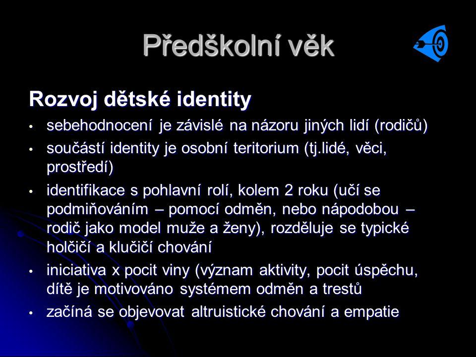 Předškolní věk Rozvoj dětské identity • sebehodnocení je závislé na názoru jiných lidí (rodičů) • součástí identity je osobní teritorium (tj.lidé, věc