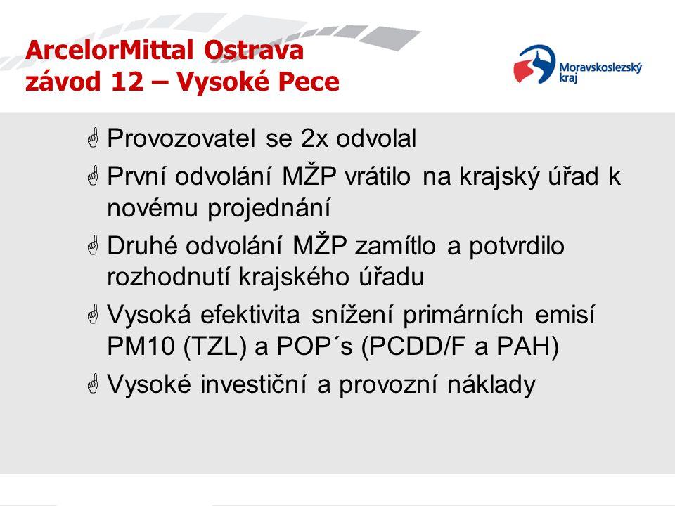  Provozovatel se 2x odvolal  První odvolání MŽP vrátilo na krajský úřad k novému projednání  Druhé odvolání MŽP zamítlo a potvrdilo rozhodnutí krajského úřadu  Vysoká efektivita snížení primárních emisí PM10 (TZL) a POP´s (PCDD/F a PAH)  Vysoké investiční a provozní náklady ArcelorMittal Ostrava závod 12 – Vysoké Pece