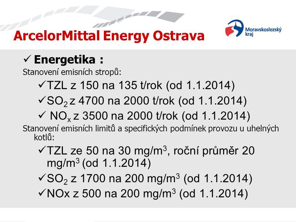 ArcelorMittal Energy Ostrava  Energetika : Stanovení emisních stropů:  TZL z 150 na 135 t/rok (od 1.1.2014)  SO 2 z 4700 na 2000 t/rok (od 1.1.2014)  NO x z 3500 na 2000 t/rok (od 1.1.2014) Stanovení emisních limitů a specifických podmínek provozu u uhelných kotlů:  TZL ze 50 na 30 mg/m 3, roční průměr 20 mg/m 3 (od 1.1.2014)  SO 2 z 1700 na 200 mg/m 3 (od 1.1.2014)  NOx z 500 na 200 mg/m 3 (od 1.1.2014)
