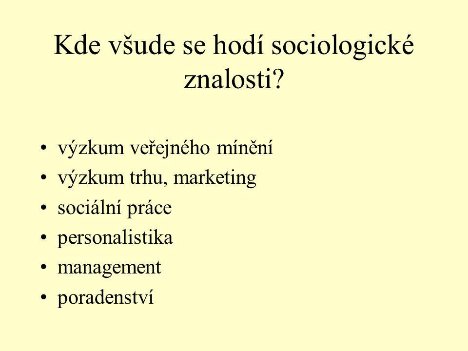 Kde všude se hodí sociologické znalosti? •výzkum veřejného mínění •výzkum trhu, marketing •sociální práce •personalistika •management •poradenství