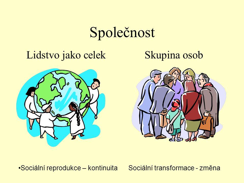 Společnost Lidstvo jako celekSkupina osob •Sociální reprodukce – kontinuita Sociální transformace - změna