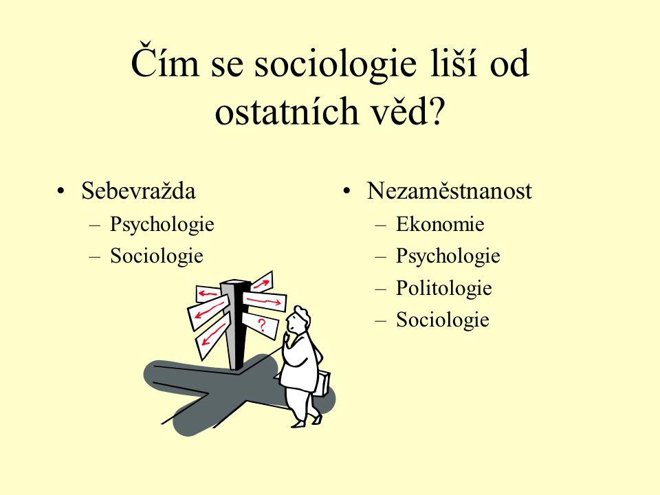 Čím se sociologie liší od ostatních věd? •Sebevražda –Psychologie –Sociologie •Nezaměstnanost –Ekonomie –Psychologie –Politologie –Sociologie