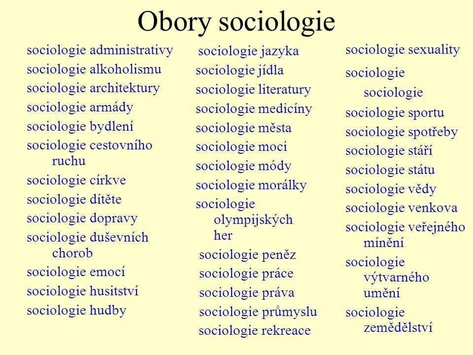 Obory sociologie sociologie administrativy sociologie alkoholismu sociologie architektury sociologie armády sociologie bydlení sociologie cestovního r