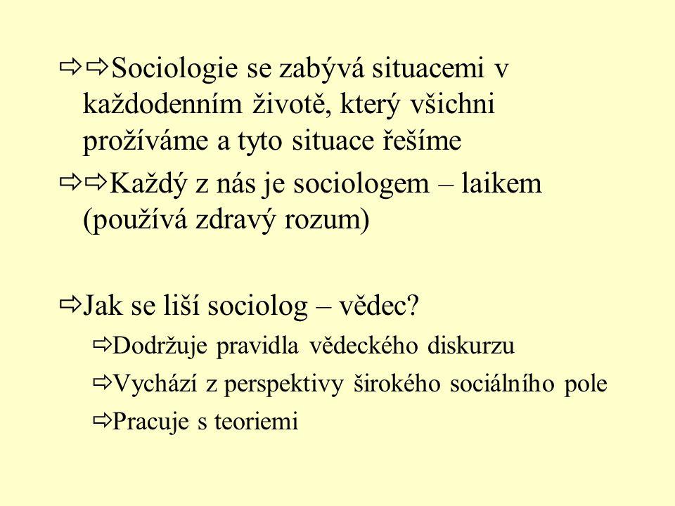  Sociologie se zabývá situacemi v každodenním životě, který všichni prožíváme a tyto situace řešíme  Každý z nás je sociologem – laikem (používá z