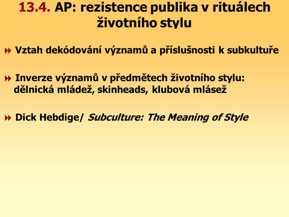 13.4. AP: rezistence publika v rituálech životního stylu  Vztah dekódování významů a příslušnosti k subkultuře  Inverze významů v předmětech životní