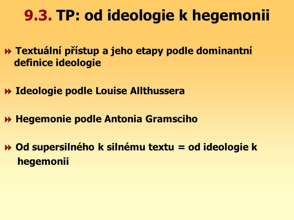 9.3. TP: od ideologie k hegemonii  Textuální přístup a jeho etapy podle dominantní definice ideologie  Ideologie podle Louise Allthussera  Hegemoni