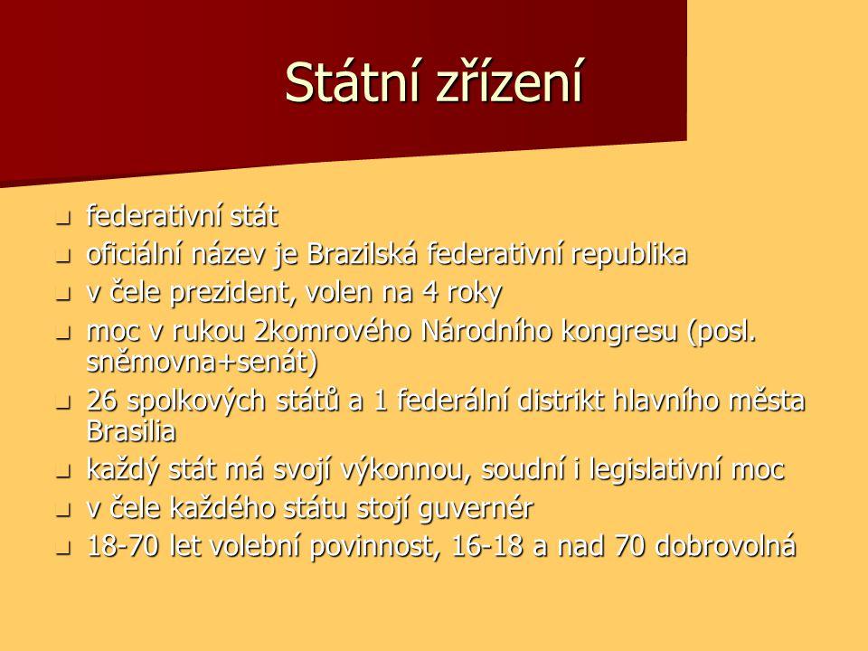Státní zřízení  federativní stát  oficiální název je Brazilská federativní republika  v čele prezident, volen na 4 roky  moc v rukou 2komrového Ná