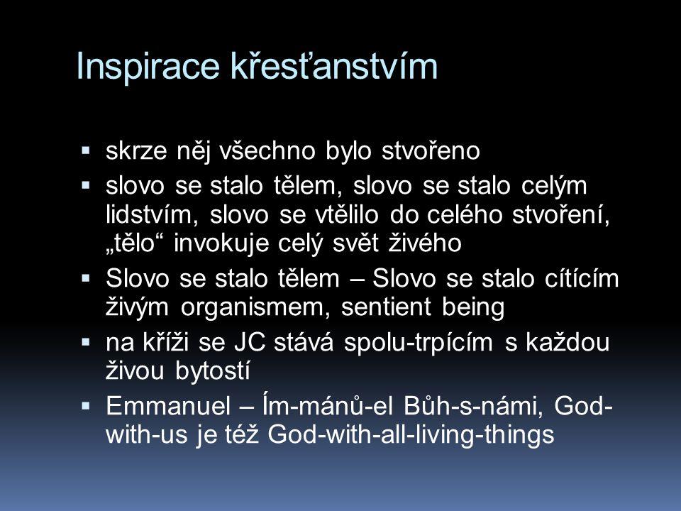 Inspirace křesťanstvím  Bůh je intimním způsobem přítomen ve všech věcech, které stvořil  JC se vtělil do hmoty  je tedy svatá.