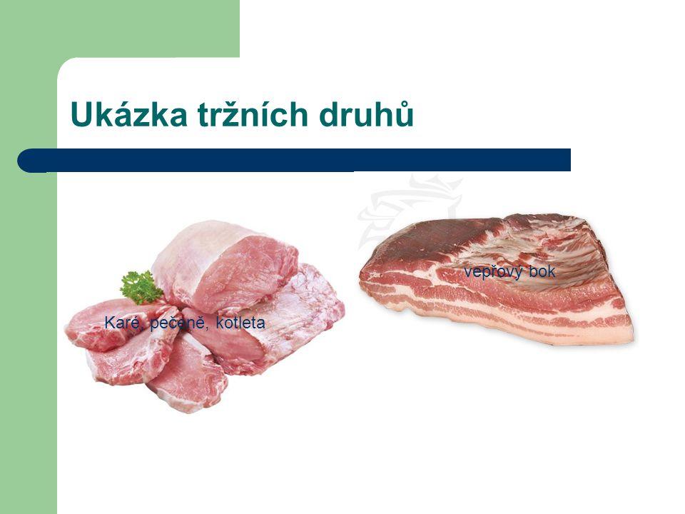 Ukázka tržních druhů Karé, pečeně, kotleta vepřový bok
