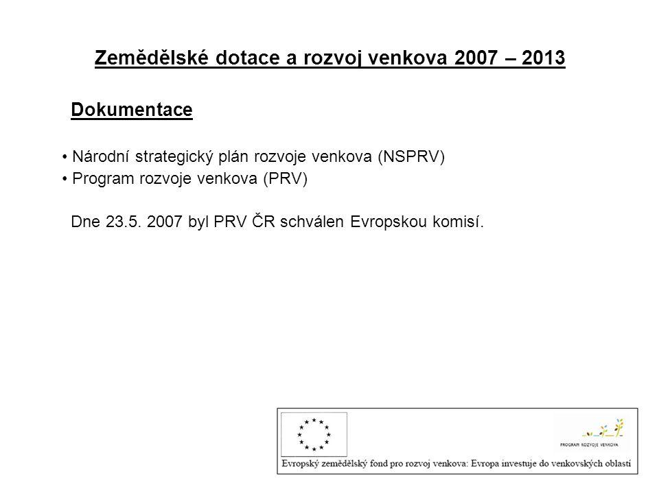 Zemědělské dotace a rozvoj venkova 2007 – 2013 Dokumentace • Národní strategický plán rozvoje venkova (NSPRV) • Program rozvoje venkova (PRV) Dne 23.5.